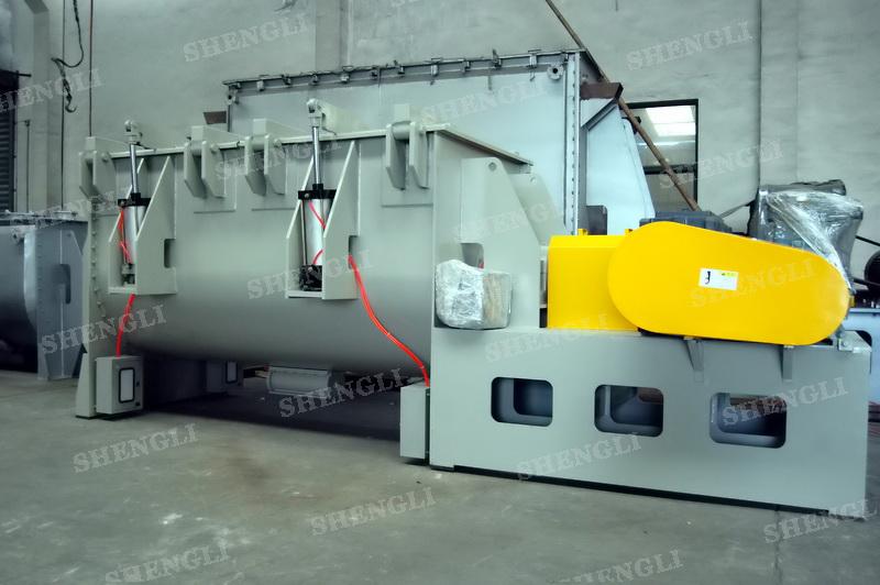 工作原理:螺带卧式搅拌机采用u型筒体,内装平行主轴,主轴上安装正反